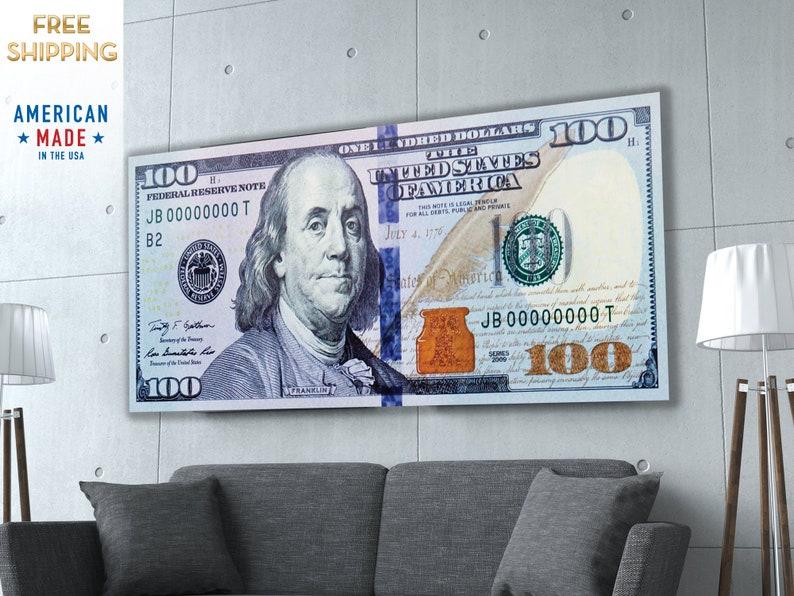 NEW Money   100 Dollar Bill   Motivational Art   Abstract Art   Large Wall  Art   Canvas Print   Poster Print   Metal Print   Office Art