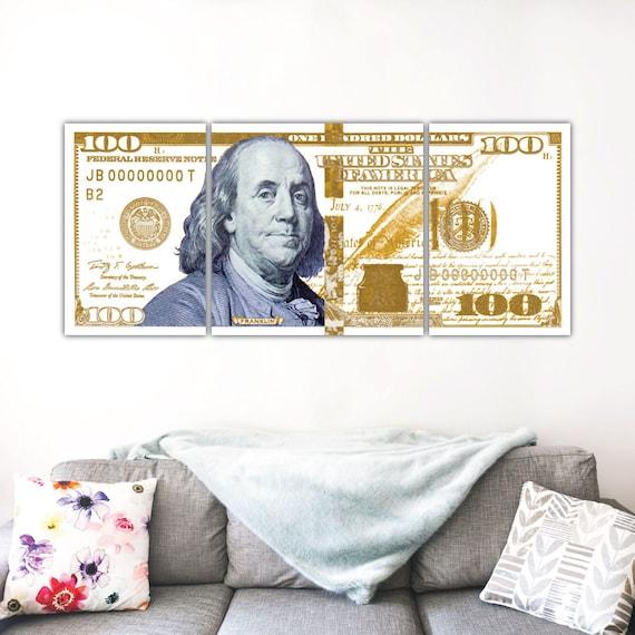 Gold Money Art | 100 Dollar Bill | Motivational Art | Abstract Art | Large  Wall Art | Canvas Print | Poster Print | Metal Print | Office Art