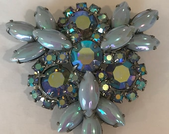 Vintage light blue Aurora Borealis Brooch