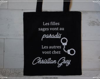 Tote bag black shopping bag good girls go to heaven others at Christian Grey