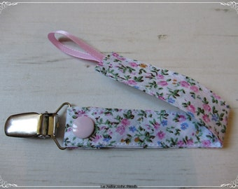 Pacifier clip girl with flowers