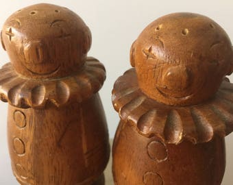 Vintage Circus Clown Salt and Pepper Shakers, Teak Carved Circus Clowns Salt and Pepper Shakers, Unique Circus Happy Clowns