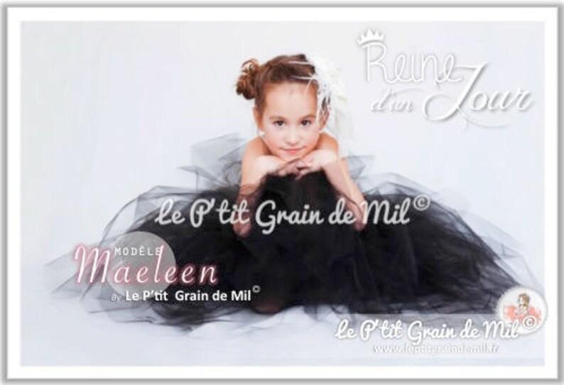 5234dc9c9fa Robe Tutu Longue Princesse Bébé Petite Fille en Tulle Noir