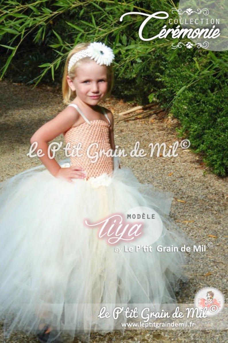 6164887afb3af Robe Tutu Longue de Cérémonie Princesse en Tulle Pastel Pêche