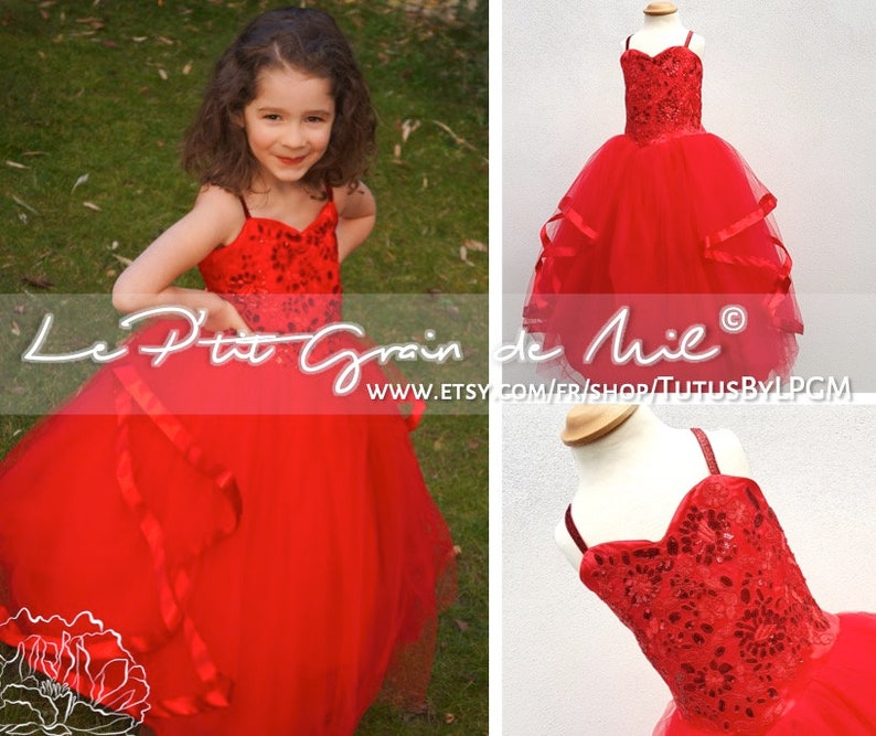 fe2977e6ce011 Red Lace Tulle and Sequins Princess Dress, Red Pageant Tulle Dress, Flower  Girl Tutu Dress, Prom Bridesmaid Dress, Christmas, New Year Eve
