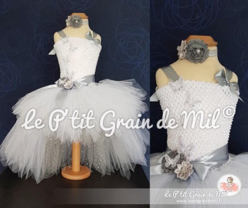 1fd3018aeb9 Robe Tutu de Cérémonie Princesse Blanche Asymétrique Petite