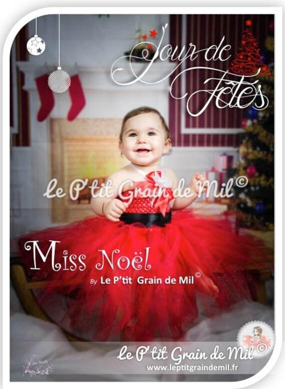 75bdeca22f1b2 Robe Tutu de Noël pour bébé ou petite fille en tulle rouge