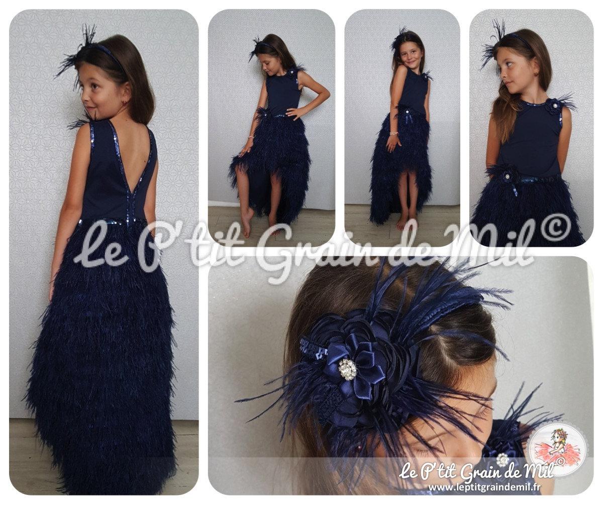 Dress child de cérémonie asymmetric back nude feathers Blue  13a11500415