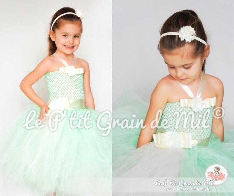 b38593f2b855b Robe Tutu Longue Demoiselle d Honneur pour Petite Fille en