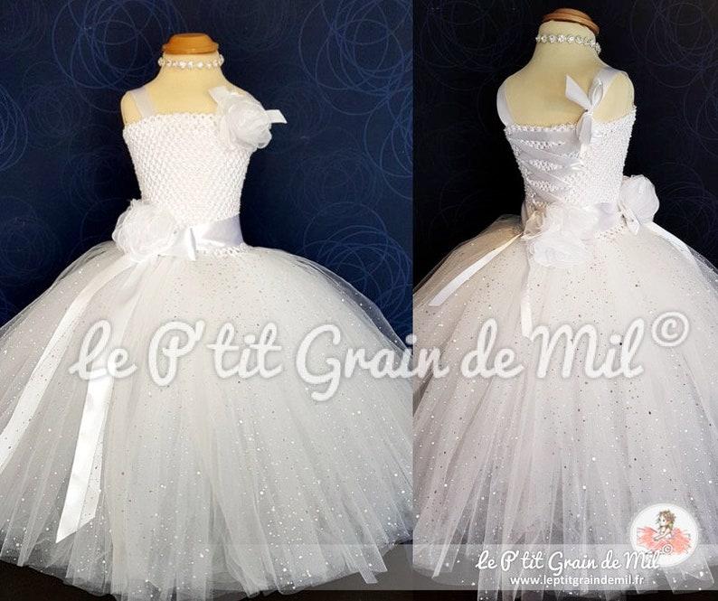 3d8dff2ede95f Robe Tutu Longue Princesse Blanche à Paillettes pour Petite