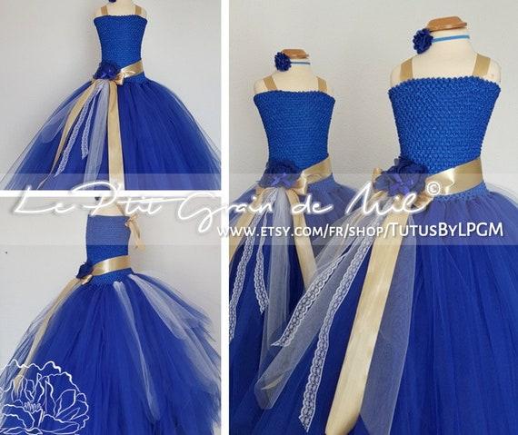 Robe Tutu Longue Demoiselle d'Honneur Bleu et Or Fille, Robe de Princesse Enfant en Tulle, Cérémonie Mariage Déguisement 3 4 5 6 7 8 10 ans