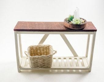 Mini Dollhouse Rustic Console Table Kit - 1:12 Scale Modern Farmhouse Furniture - Lasercut Birch Wood DIY Craft