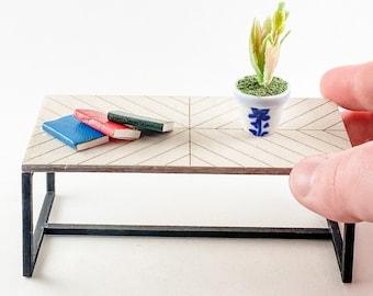 Mini Dollhouse Coffee Table Kit Herringbone Design - 1:12 Scale Modern Furniture - Lasercut Birch Wood DIY Craft