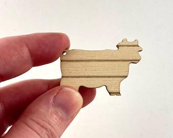 Mini Dollhouse Cow Cutting Board 1:12 Scale - Farmhouse Kitchen Accessory