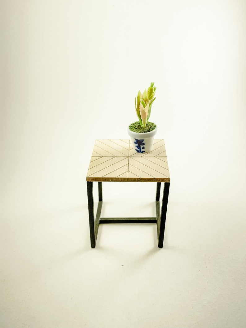 Mini Dollhouse Herringbone End Table Kit  1:12 Scale Modern image 0