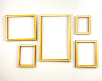 Mini dollhouse picture frame set - 5x - 1:12 Scale wooden frames