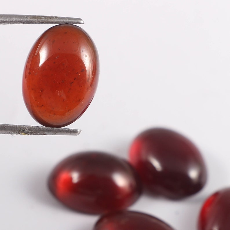 5 pecs lot smooth cabochon size10x14 mm natural Hessonite garnet gemstone high quality loose gemstone,cts,38. 0val shape