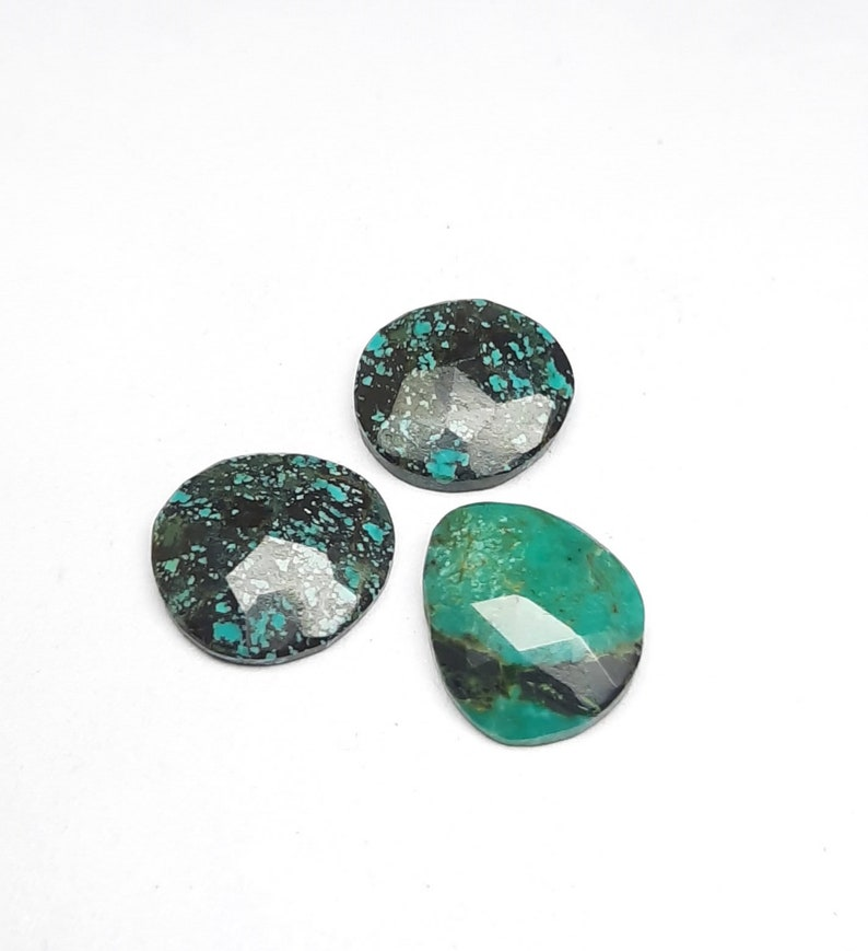 faceted unset Tibetan turquois back flat loose gemstone, 3 pics lot wholesale smooth rose cut slice fancy shape size 11x12x3 mm approx.