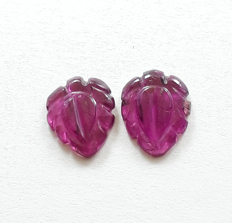 leaf shape size 8x10 mm approx smooth leaf carved 2.70 cts high quality loose gemstone 1 pair natural pink tourmaline gemstone