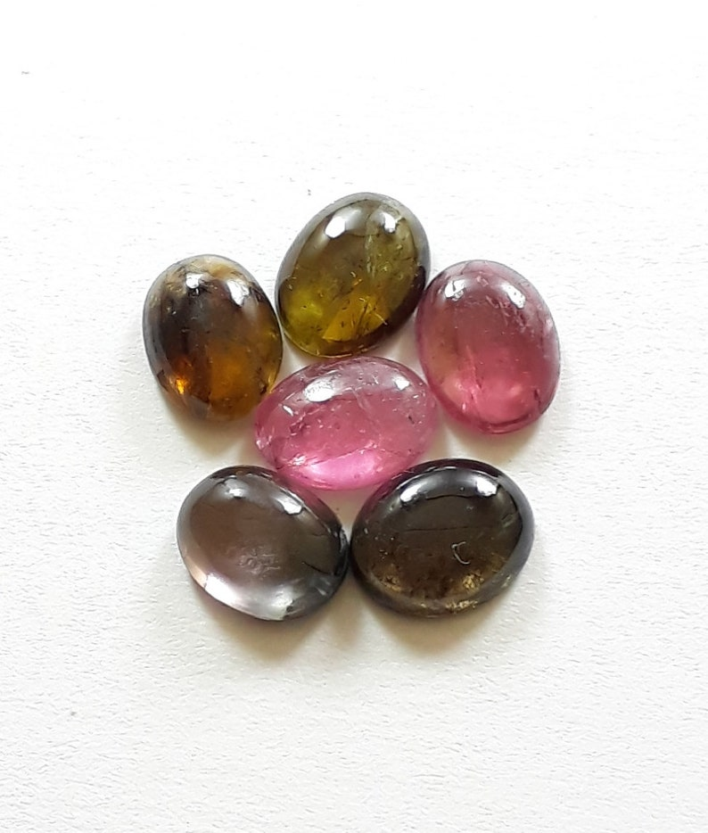 ct. pics lot 6 size 7x9 mm approx natural pink tourmaline gemstone smooth cabochon loose gemstone 10 shape oval high quality