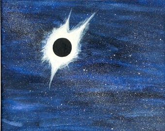 Total Solar Eclipse Original Painting Watercolor Blue Sky Stars Matted Ready to Frame 8x10 Art 11x14 Mat