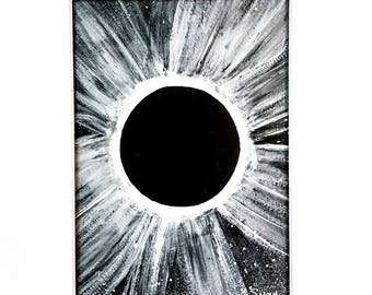 Total Solar Eclipse Original Painting Watercolor Black White Matted Ready to Frame 5x7 Art 8x10 Mat