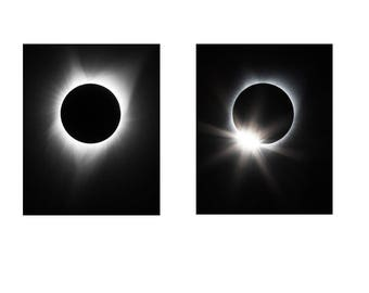 Total Solar Eclipse 2017 8x10 MATCHING SET Diamond Ring Effect Sun Moon Photograph Print Original