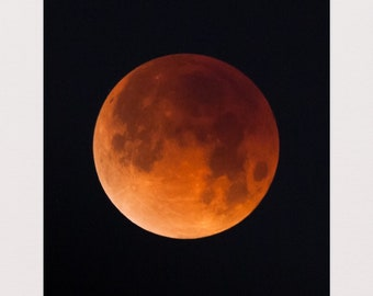 Total Lunar Eclipse 2018 MATTED PRINTS Super  Blue Blood Moon Photograph Print Original Signed Mat Matted
