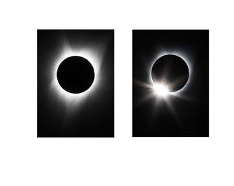 Total Solar Eclipse 2017 MATCHING SET MATTED 5x7 Print 8x10 Mat Diamond Ring Effect Photograph Print Original Signed