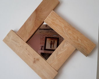 """Natural"" recycled wood frame mirror"