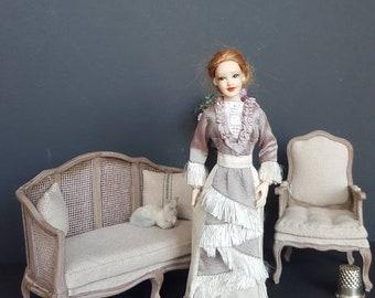 grey only Heidi Ott grey doll wigfor 1:12 scale older  lady dolls