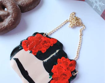 Handmade Frida Kahlo inspired necklace, handpainted necklace