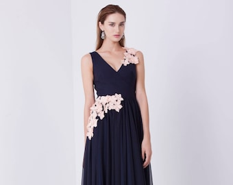Chiffon Bridesmaid Dress,Dark blue evening dress, wedding guest dress, special occasion dress, Evening A-Line dress, Formal Evening Gown
