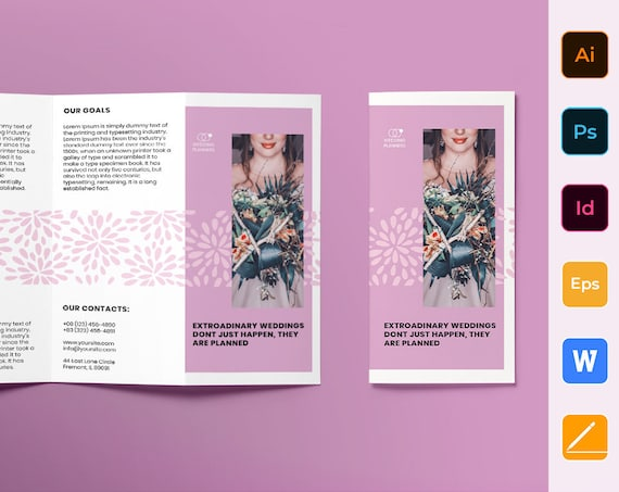 Trifold Brochure Template Wedding Planner Etsy