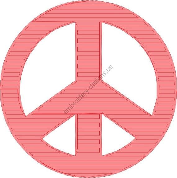 Peace Sign Symbol Design Embroidery Fill Design Machine Etsy