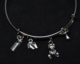 Baby Shower Expandable Bangle Charm Bracelet/Baby/Gift for New Mom/Baby Shower/New Parents/Wire STYLE #1