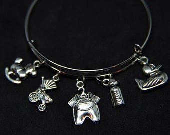 Baby Shower Expandable Bangle Charm Bracelet/Baby/Gift for New Mom/Baby Shower/New Parents/Wire STYLE #2