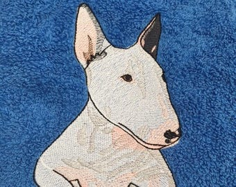 English Bull Terrier Personalised Embroidered Towels Name Free