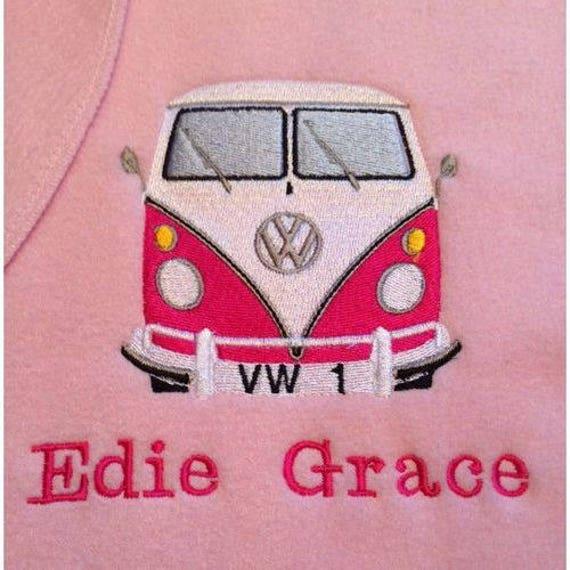 Girl  Blue Personalised Vw Camper Van Embroidered Baby Blanket Boy Pink