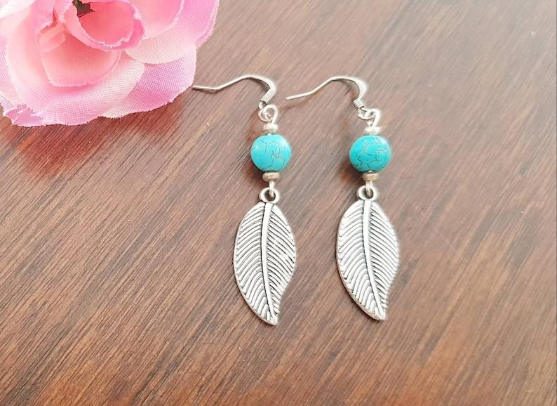 Australian Seller Turquoise Earrings Leaf Earrings Dangle Earrings Earrings Turquoise Jewelry Boho Jewelry Bohemian Earrings