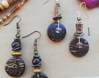Boho Drop Beaded Earrings - Brown coconut shell with copper, wood, rose gold