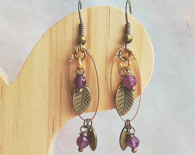 Pretty Amethyst Earrings with Leaf & Floral Design