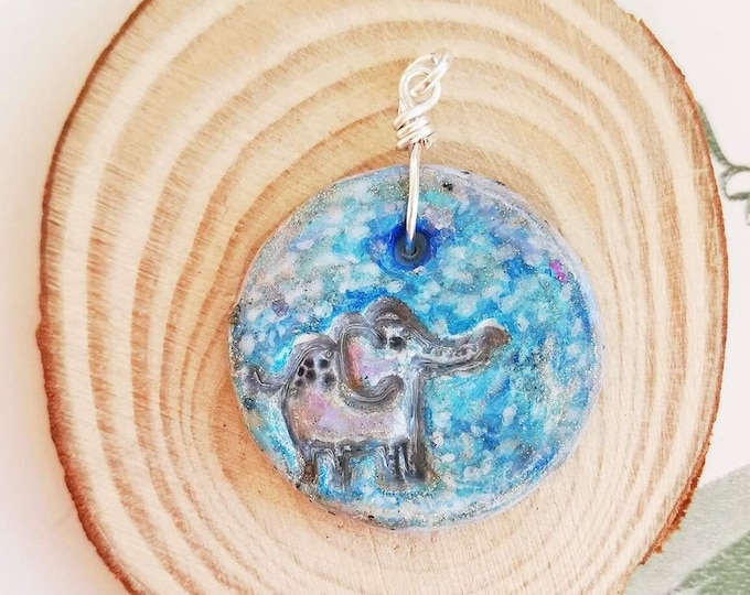 Blue Elephant Pendant Necklace with custom chain style