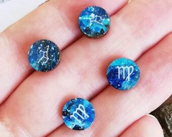 Virgo Zodiac Stud Earrings - Hand Painted Starsign Constellation, Cosmic Astrology Gift for August September Birthdays - Unisex