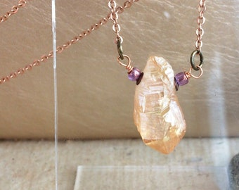 Beautiful Geode/Raw Crystal Necklace, Rose Gold, Peach - Unique Quartz Shard Pendant - Pretty Dainty Rustic  Bohemian / Boho Luxe Jewelry
