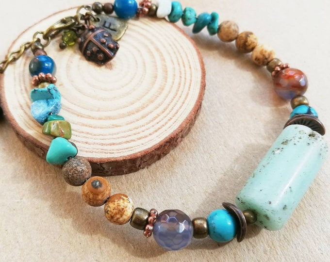 Featured listing image: Turquoise Gemstone Beaded Bracelet with Amazonite