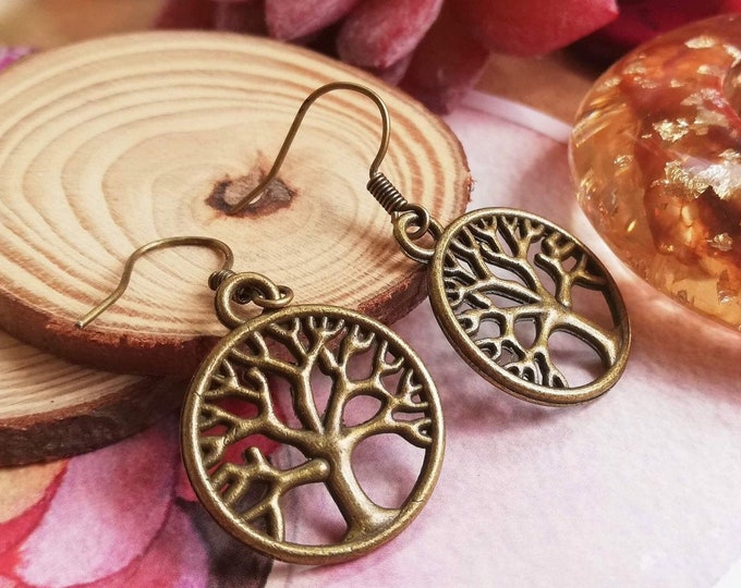 Featured listing image: Bronze Tree of Life Drop Earrings