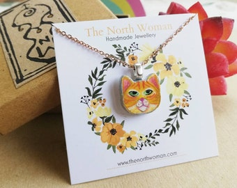 Ginger Hand Painted Cat Necklace