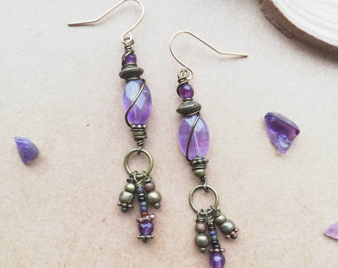 Amethyst Wire Wrapped Boho Luxe Drop Charm Earrings