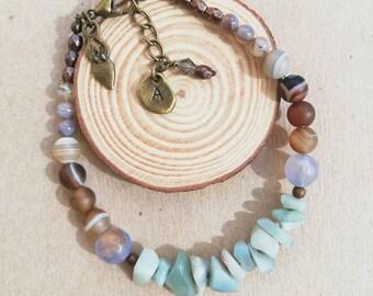 Green & Brown Rustic Gemstone Beaded Bracelets